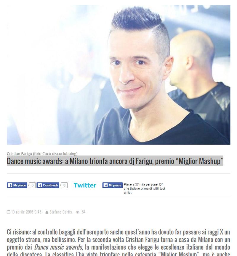 """Dance music awards: a Milano trionfa ancora dj Farigu, premio """"Miglior Mashup"""""""