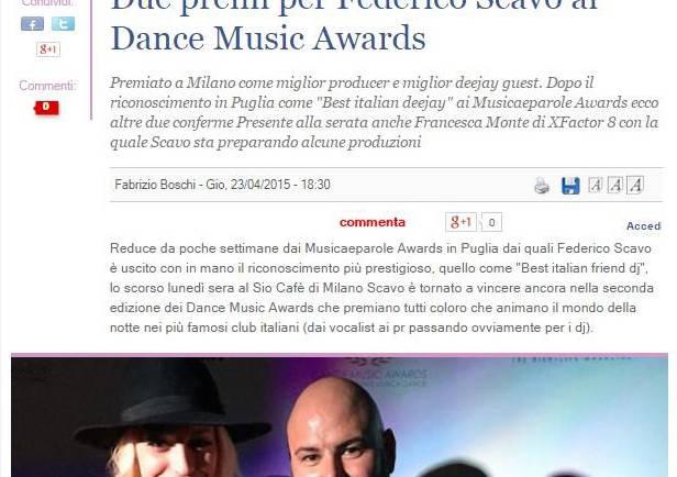 Due premi per Federico Scavo ai Dance Music Awards