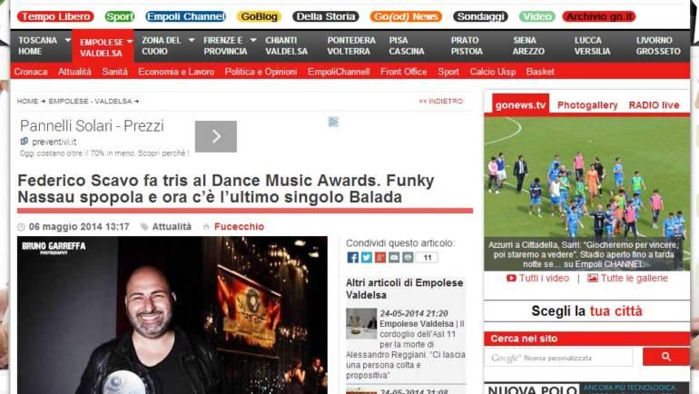 Federico Scavo fa tris al Dance Music Awards. Funky Nassau spopola e ora c'è l'ultimo singolo Balada