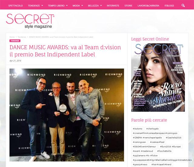 DANCE MUSIC AWARDS: va al Team d:vision il premio Best Indipendent Label