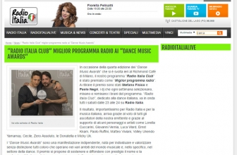 """RADIO ITALIA CLUB"" MIGLIOR PROGRAMMA RADIO AI ""DANCE MUSIC AWARDS"""