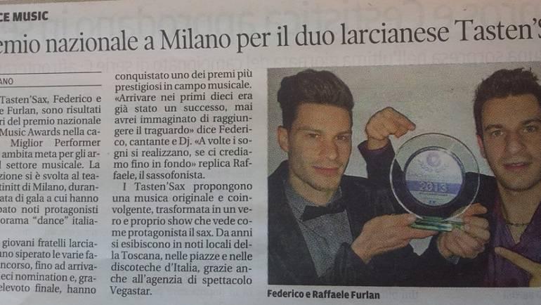 Premio nazionale a Milano per il duo larcianese Tasten'Sax